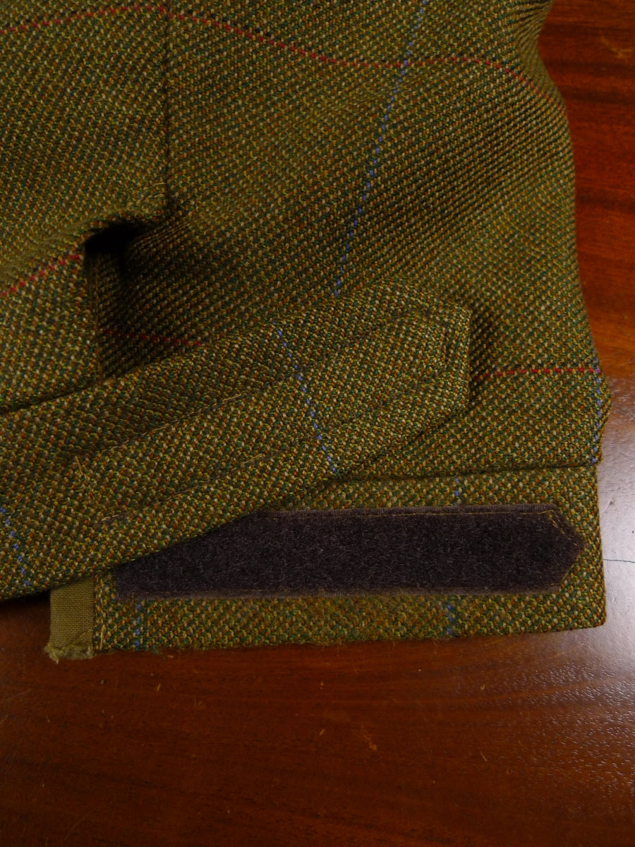 18/0282 vintage tailor-made heavyweight green windowpane check 3-piece tweed suit (w/ breeks) 44 long