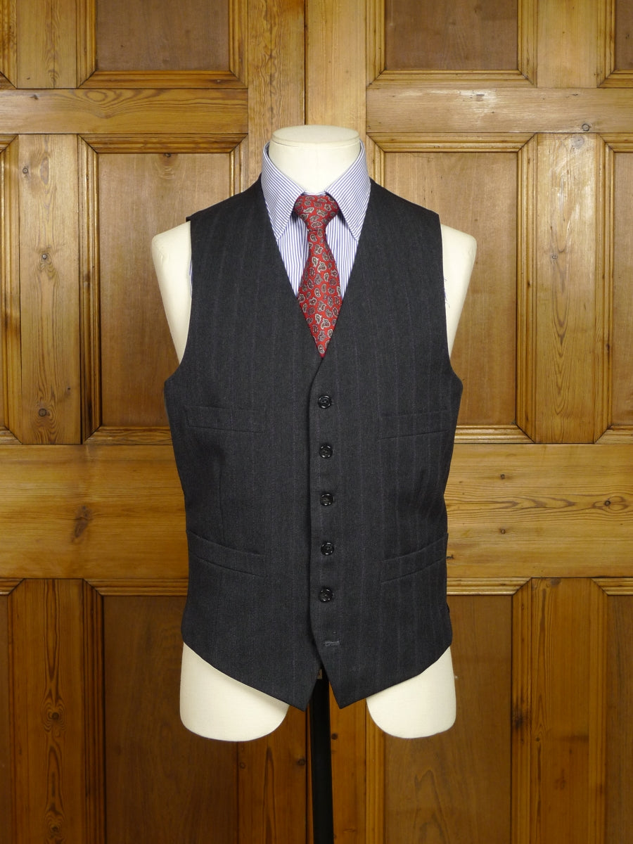 18/0292 vintage tailor made grey worsted waistcoat w/ lilac stripe 39 regular to long