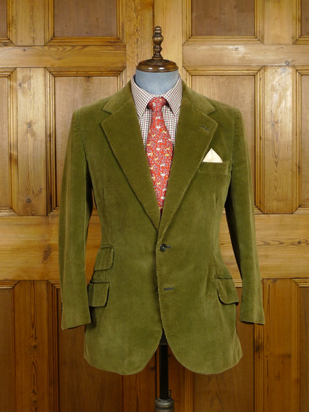 18/0346 heavyweight vintage bespoke tailored canvassed green corduroy sports jacket 38 short to regular