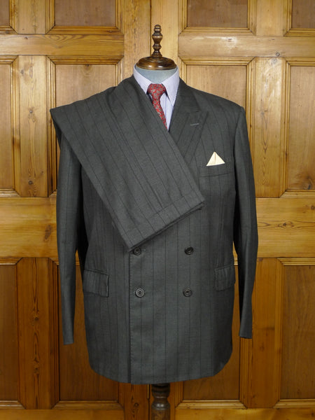 18/0411 gieves & hawkes savile row 1999 bespoke grey / black pin-stripe d/b wool suit 47 long