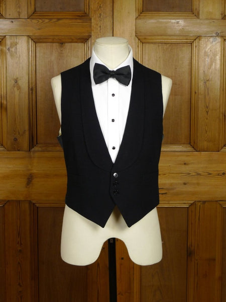 18/0420 vintage 1965 savile row bespoke black barathea wool evening waistcoat 38-39 short