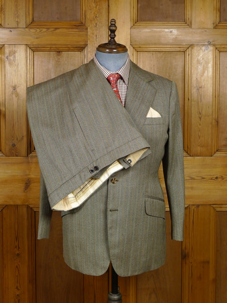 18/0530 vintage bespoke tailored full canvas brown / amber herringbone stripe worsted twist suit 41-42 short
