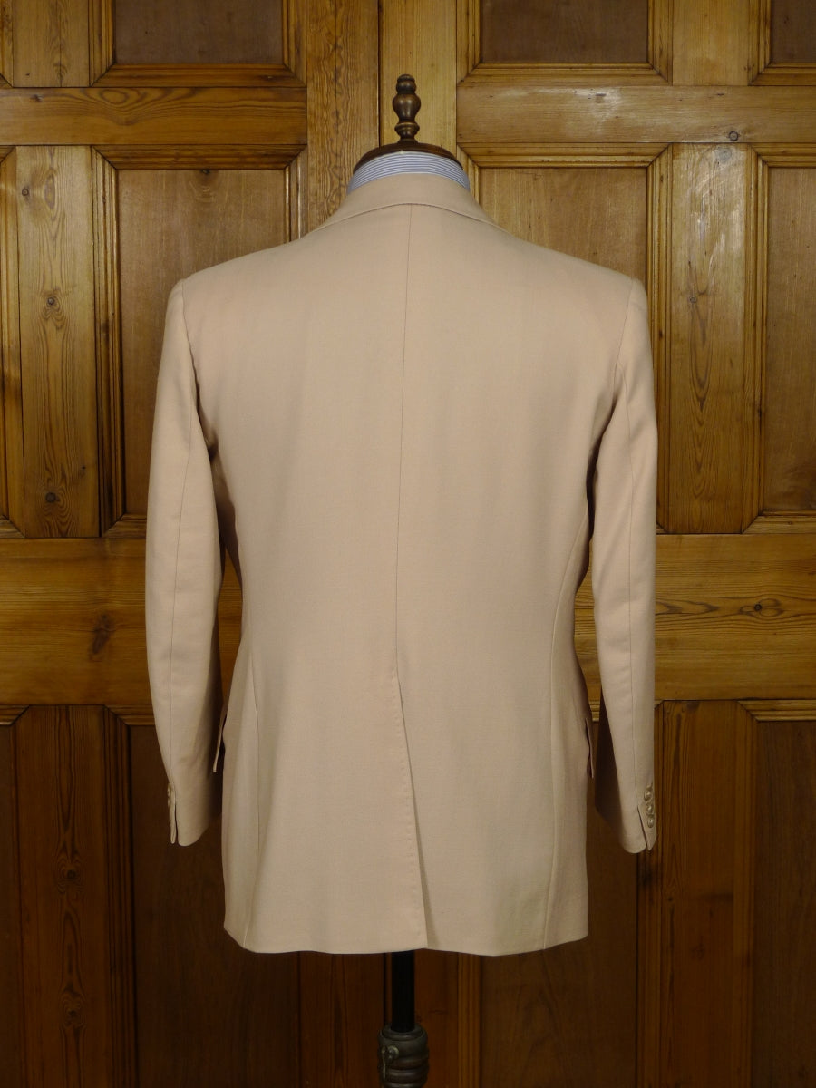 18/0534 wonderful vintage bespoke tailored full canvas beige worsted suit 41 short