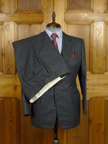 18/0528 vintage bespoke tailored full canvas grey / blue multi pin-stripe wool worsted suit 41-42 short