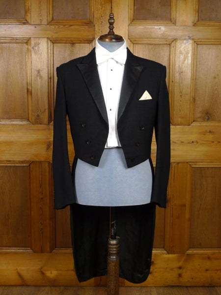 18/0544 vintage 1950s 1960s heavyweight black wool & mohair / silk satin evening tailcoat 43 regular to long