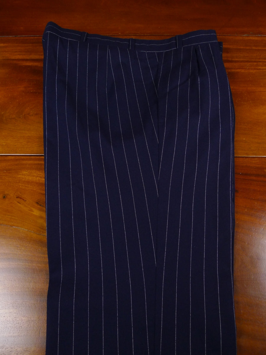 18/0542 near immaculate anderson & sheppard savile row bespoke navy blue pin-stripe wool worsted trouser 41