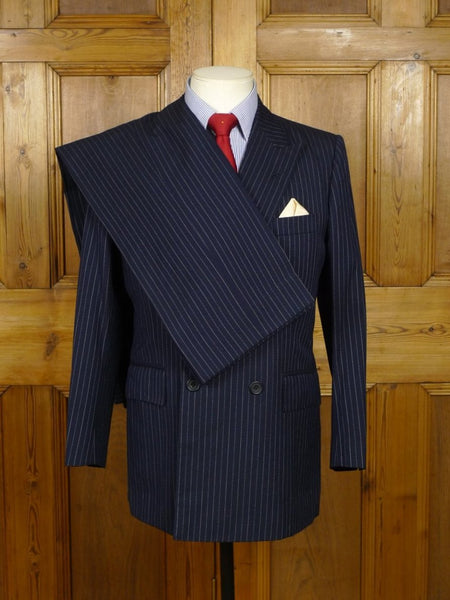 18/0589 vintage 1979 tommy nutter savile row bespoke navy blue rope-stripe 3-piece d/b worsted suit 38 short