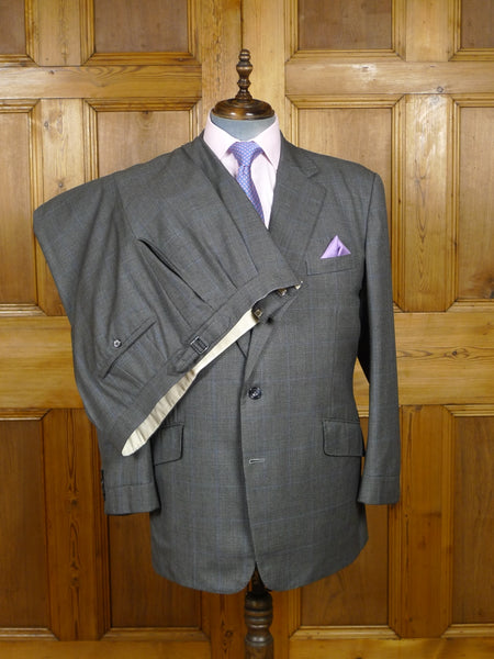 18/0615 vintage kilgour french stanbury 1999 savile row 'mtm' grey / blue prince of wales check wool suit 44-45 short to regular