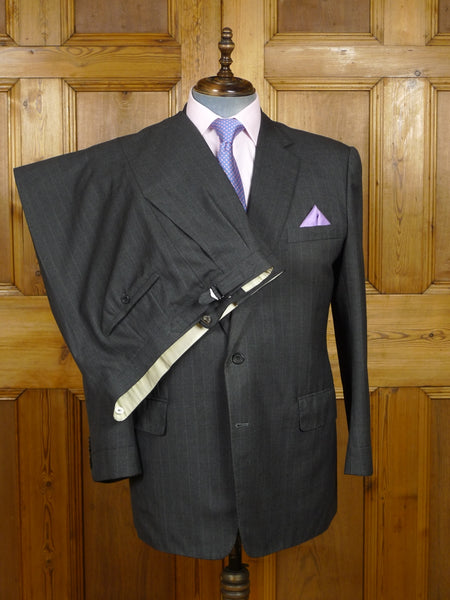 18/0617 vintage kilgour french stanbury 1998 savile row 'mtm' grey rope-stripe wool suit 45 short