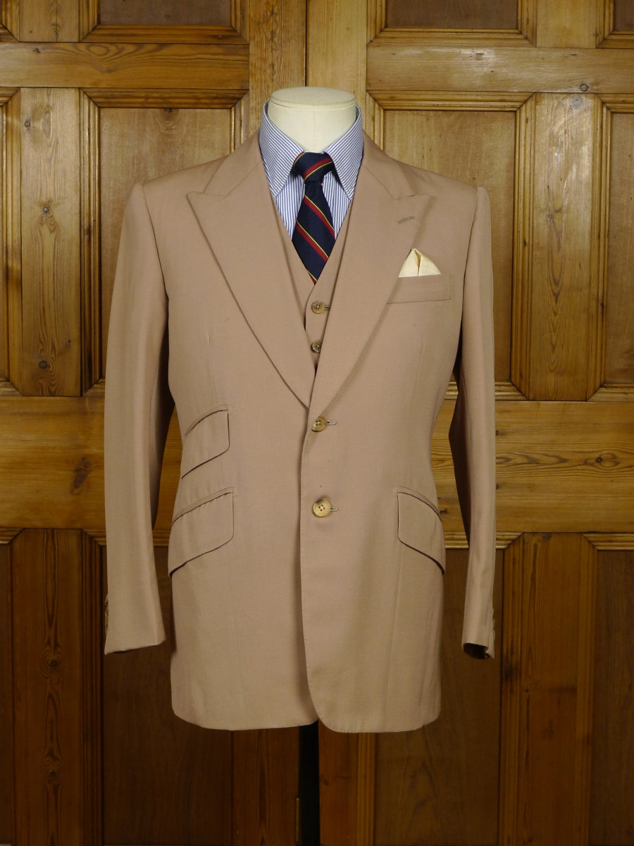 18/0629 vintage tommy nutter savile row bespoke tan brown 3-piece wool suit 38 short
