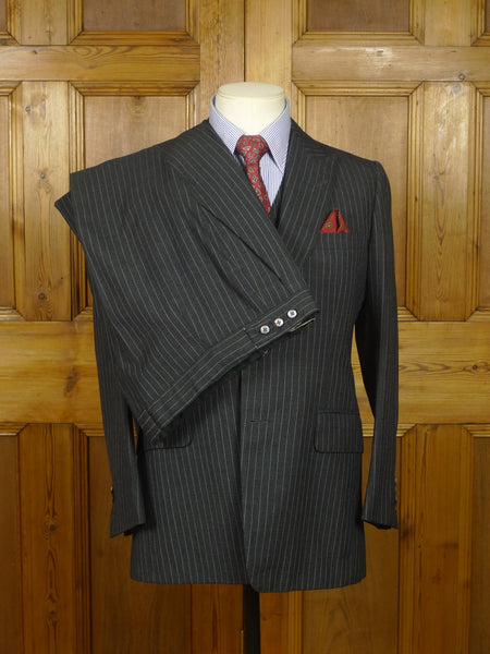 18/0630 vintage tommy nutter savile row bespoke grey pin-stripe 3-piece wool worsted suit 38 short