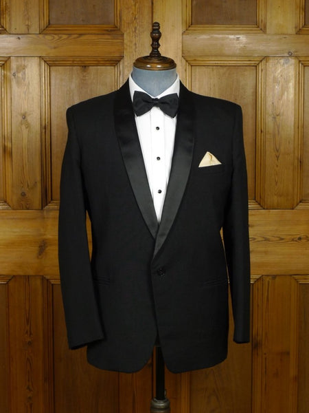 18/0646 immaculate vintage hardy amies wool mohair mix black slim shawl collar dinner jacket 41 short to regular