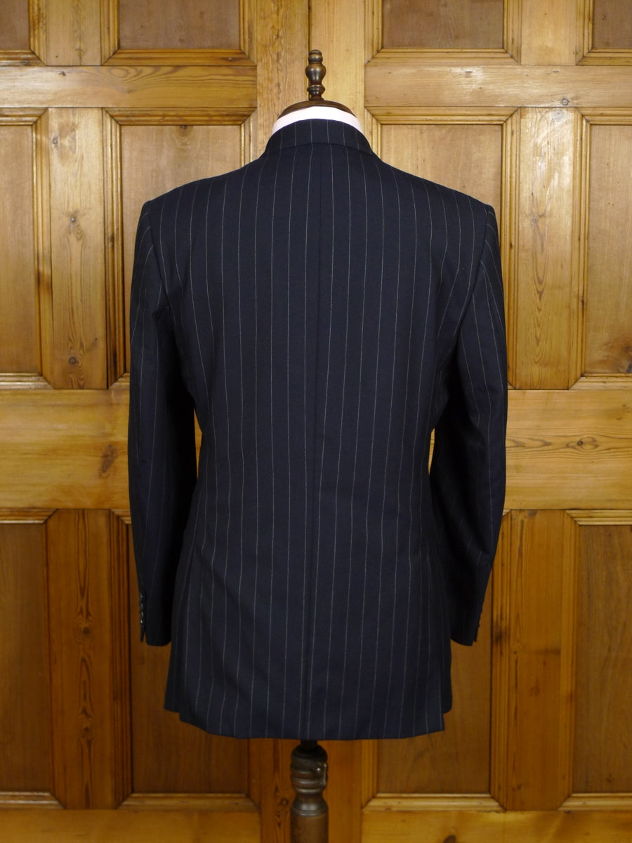 18/0739 crombie wool & cashmere navy blue pin-stripe suit w/ contrast linings 42 regular