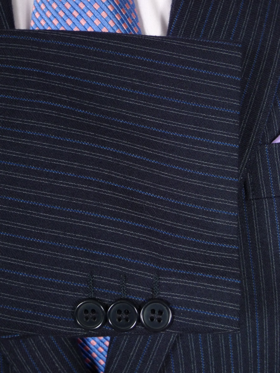 18/0737 vintage burberry navy blue / royal blue stripe wool suit 44 short to regular