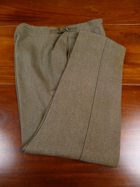 18/0756 vintage savile row bespoke heavyweight green & brown barleycorn weave high-rise tweed trouser 40