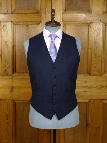 18/0751 vintage savile row bespoke navy / royal blue pin-stripe waistcoat 40 long