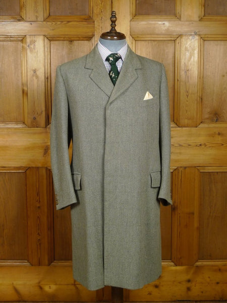 18/0771 superb 1963 savile row bespoke green herringbone wp check tweed overcoat 38-40 short