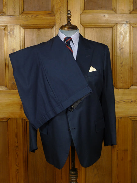 18/0786 vintage savile row bespoke blue silk suit made for Prince Rupert zu Lowenstein (Rolling Stones manager) 46 regular