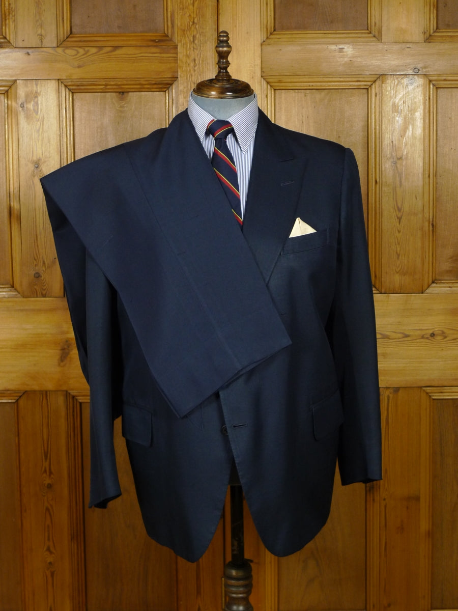 18/0786 vintage savile row bespoke blue silk suit made for Prince Rupert zu Lowenstein (Rolling Stones manager) 47 regular