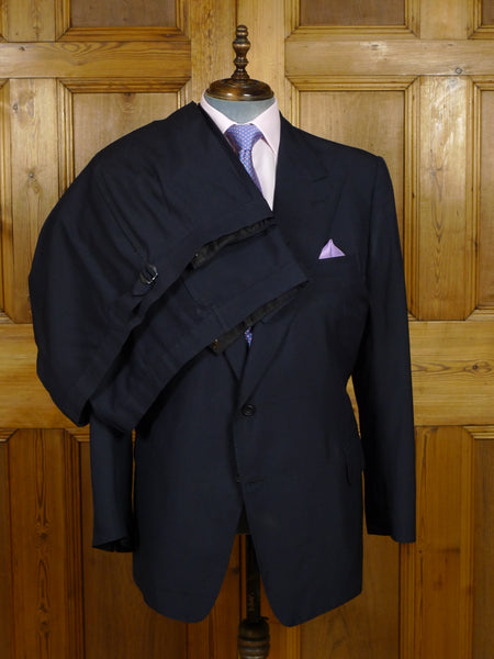 18/0816 vintage savile row bespoke navy blue silk suit w/ 2 pr trs Made for Prince Rupert zu Lowenstein (Rolling Stones manager) 45 short to regular