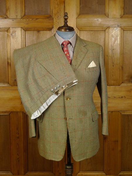 18/0805 damaged bernard weatherill heavyweight windowpane check tweed suit 43 short
