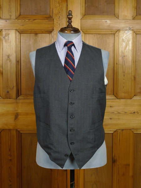 18/0818 vintage savile row bespoke grey / royal blue pin-stripe waistcoat made for Prince Rupert zu Lowenstein (Rolling Stones manager) 47 regular