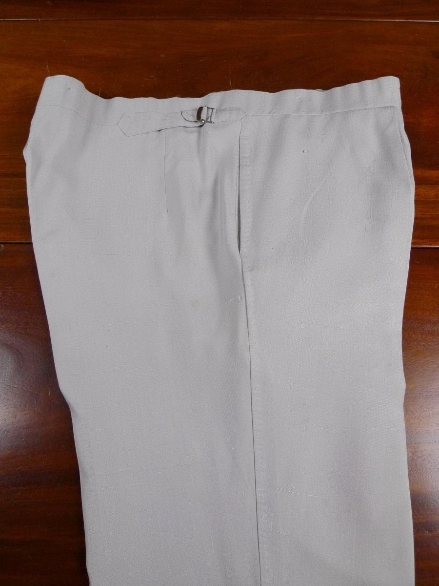 18/0836 vintage savile row bespoke taupe grey silk trouser Made for Prince Rupert zu Lowenstein (Rolling Stones manager) 43