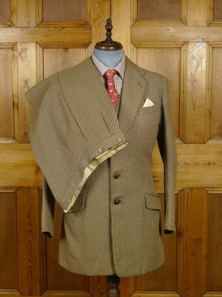 18/0857 vintage 1958 savile row bespoke heavyweight 3-piece houndstooth check tweed suit  38-40 long