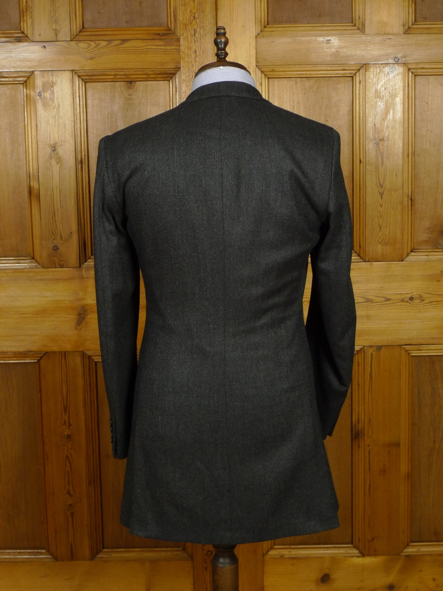 18/0921 immaculate edgar pomeroy us bespoke tailored canvassed grey herringbone wool & cashmere sports jacket blazer 38 extra long