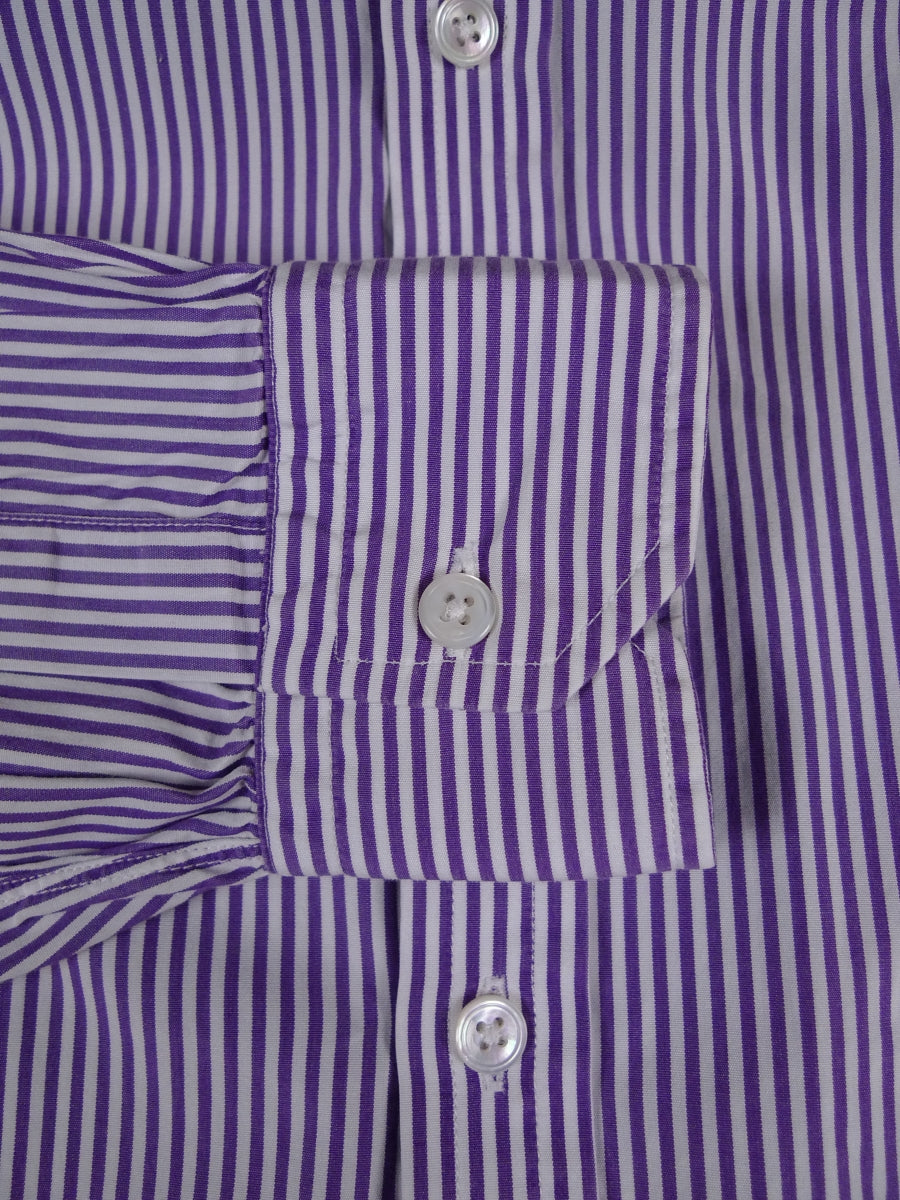 18/0941 immaculate vintage turnbull & asser purple bengal stripe cotton shirt 16.25 short