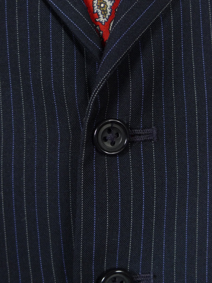 18/0971 distinctive pogson & davis savile row bespoke navy blue / white & royal blue pin-stripe 3-piece suit w/ contrast linings 40 long