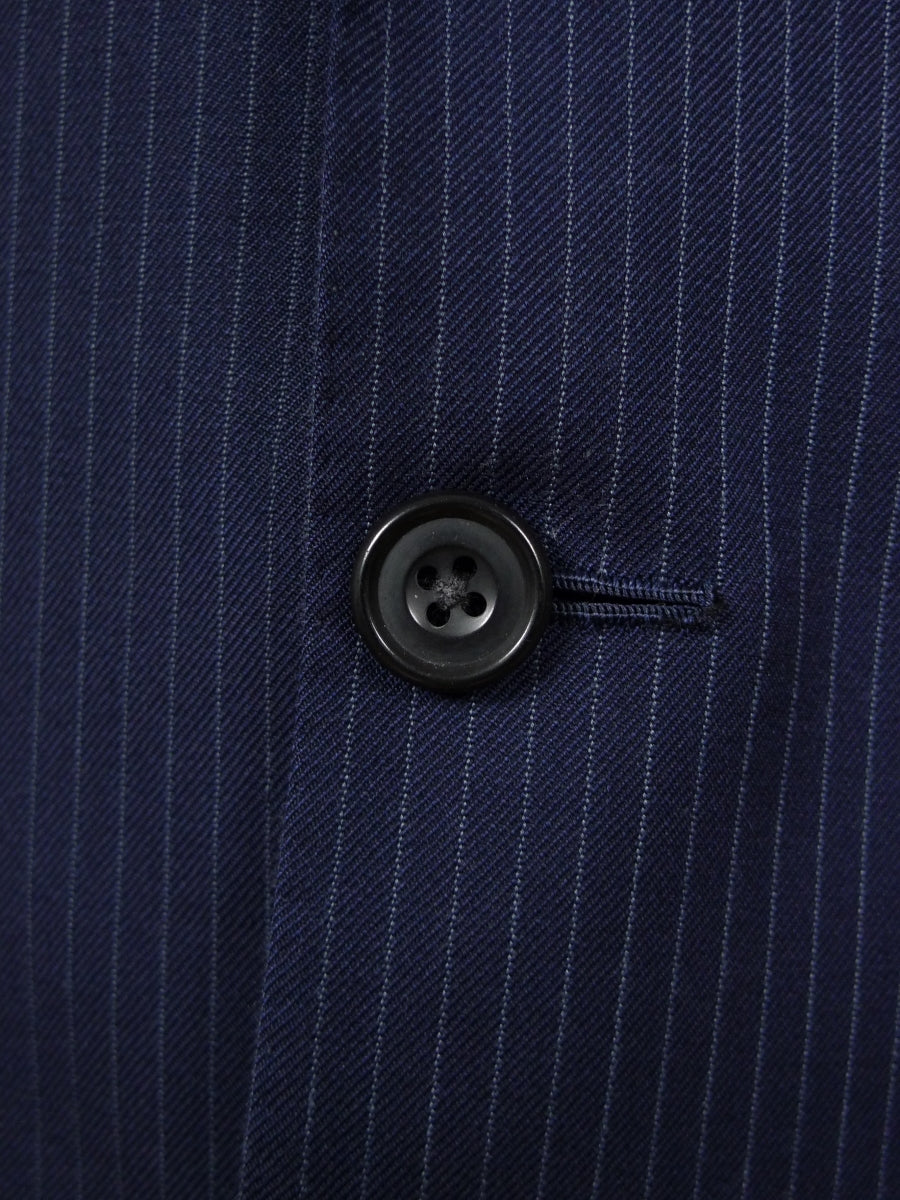 18/0970 distinctive pogson & davis savile row bespoke navy blue pin-stripe wool suit w/ contrast linings 40 long
