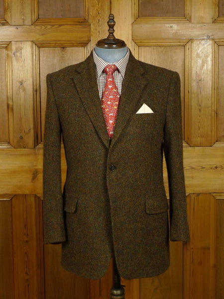 18/0983 immaculate gieves savile row rust brown tweed sports jacket 43 regular