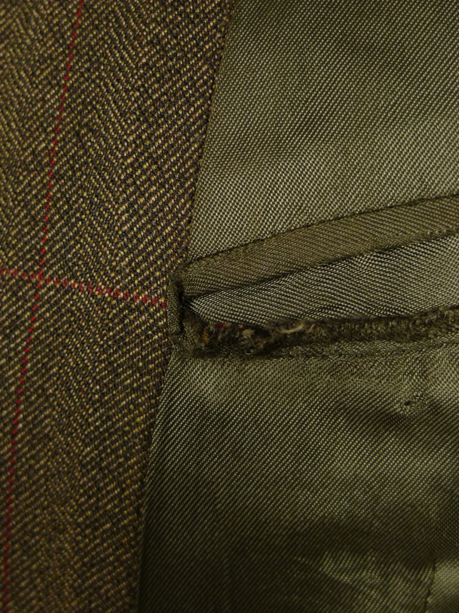 18/1003 vintage henry poole savile row bespoke brown / red windowpane check worsted twist 3-piece suit 42 regular