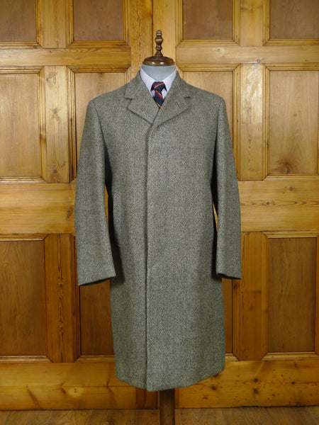 18/1010 superb vintage henry poole savile row bespoke heavyweight grey wool overcoat 39-40