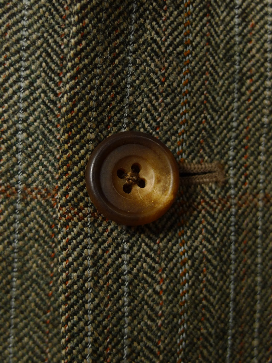 18/1034 vintage daks brown w/p check wool twist suit w/ working cuff 40 regular