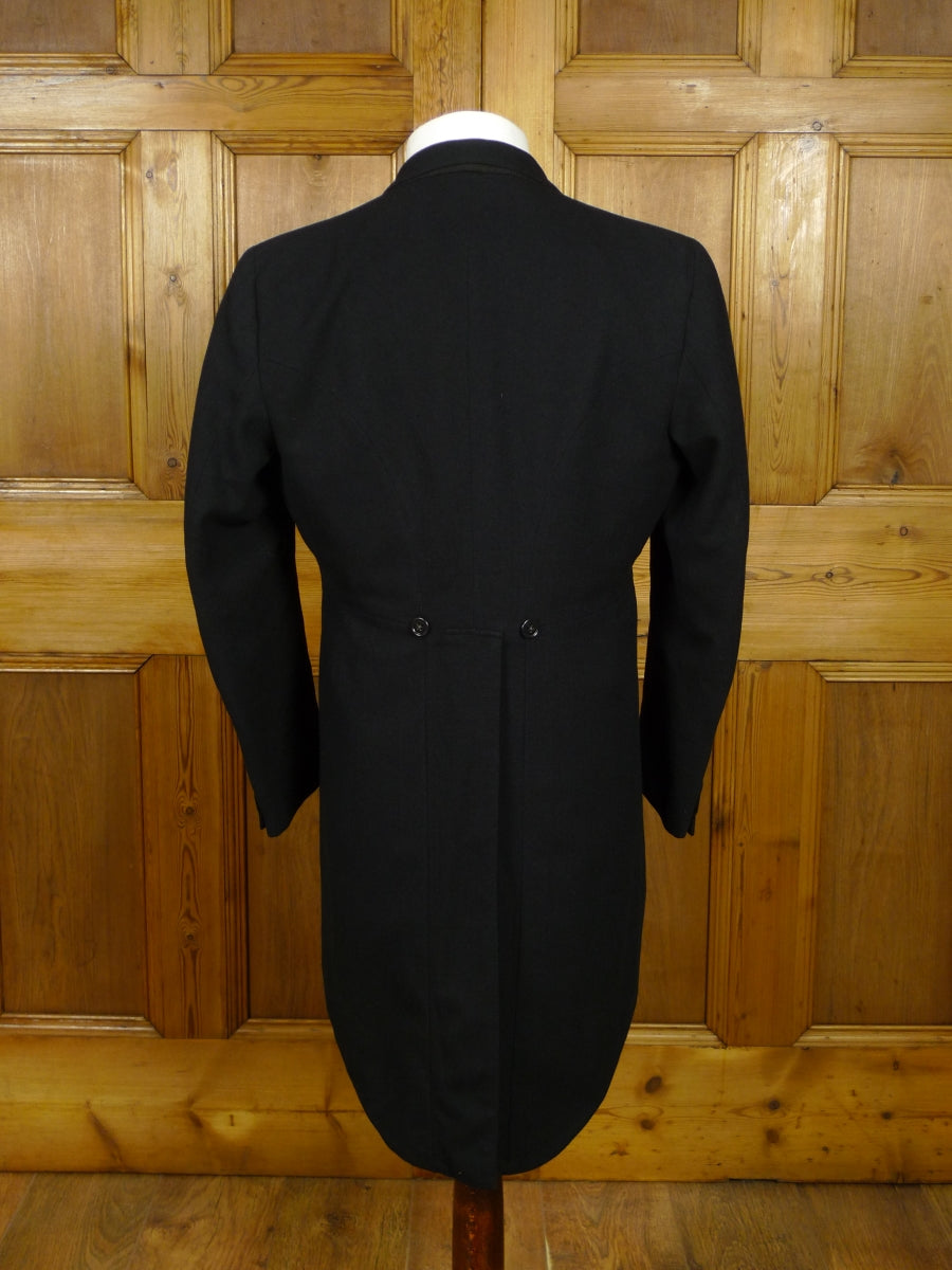 18/1050 vintage london tailored black herringbone wool morning coat 38 regular