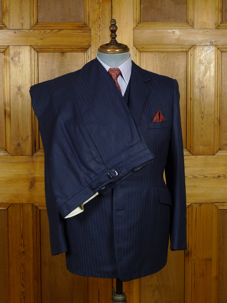 18/0910 vintage 1970s bespoke tailored full canvas crombie wool navy blue / red stripe 3-piece suit 41 regular