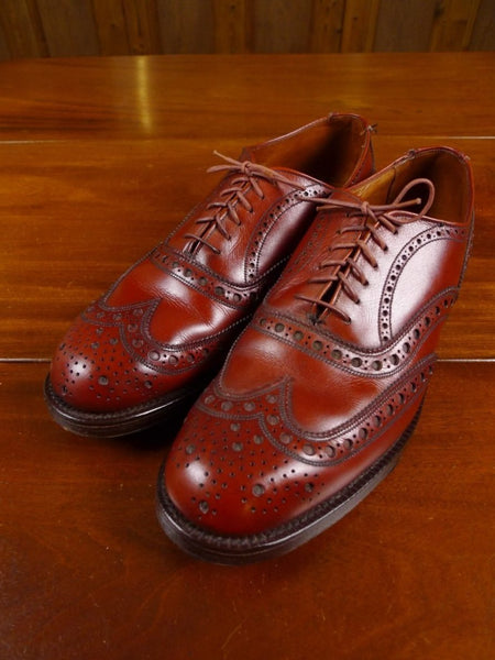 18/1068 immaculate vintage british mahogany brown brogue lace up shoe uk 7.5