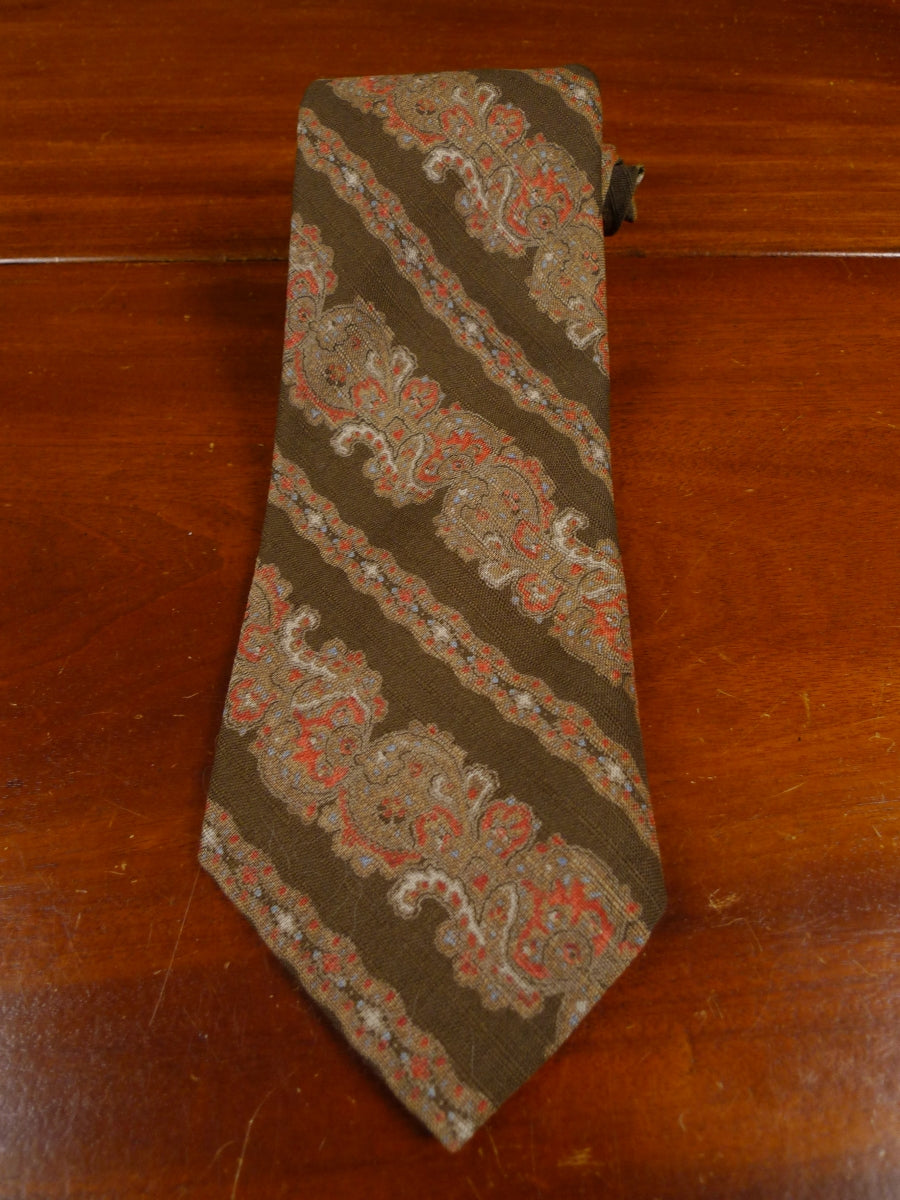 18/1069 immaculate vintage don soper brown paisley wool tie for goodwood revival