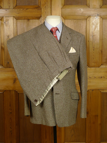 18/1109 wonderful 1940s 1950s vintage heavyweight brown / green check 3-piece tweed suit 37-38 short