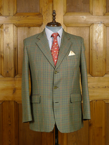 18/1108 bespoke tailored 2008 green gun club check wool sports jacket 42 short to regular (portly cut)