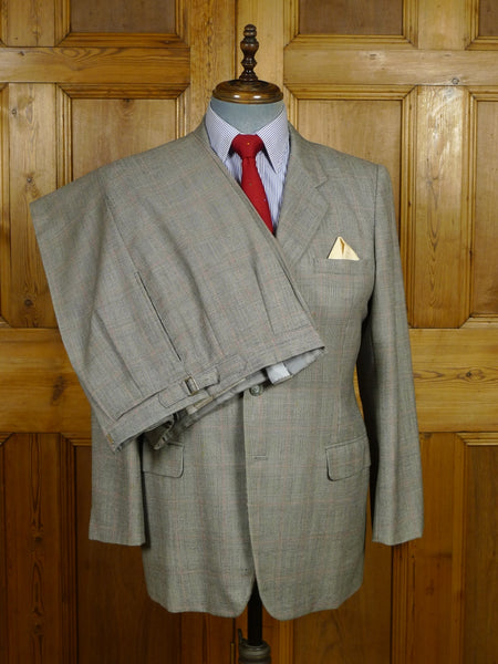 18/1081 vintage hong kong tailored full canvas grey / red prince of wales check worsted suit 41 short
