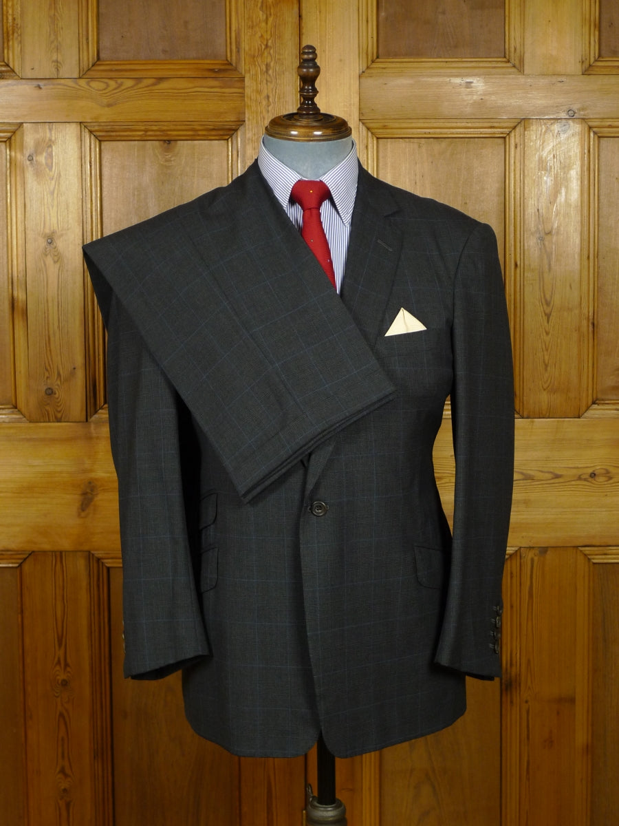 18/1113 immaculate leonard logsdail savile row / new york bespoke charcoal grey / blue prince of wales check wool suit 41 short