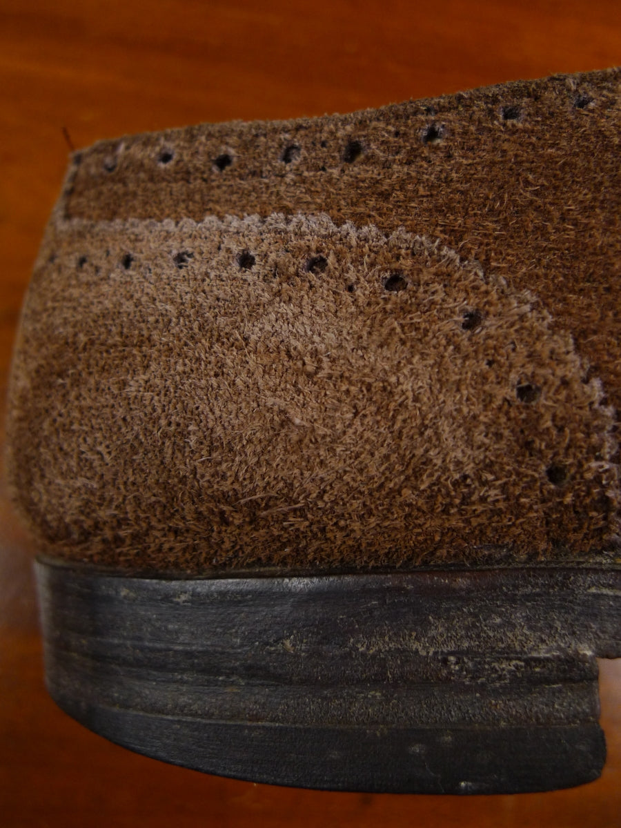 18/1117 wonderful vintage 1950s 1960s brown suede brogue shoe uk 8