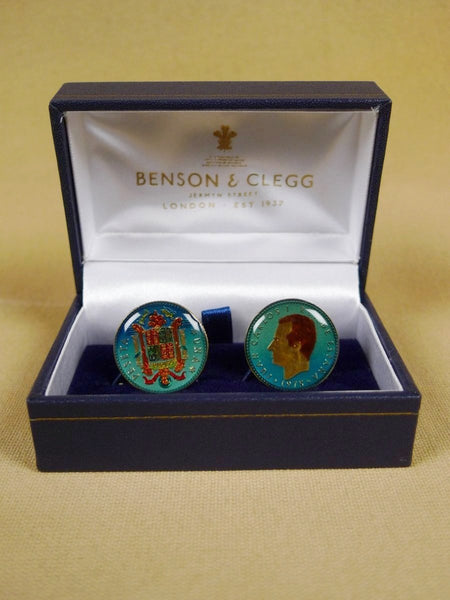 18/1128 brand new benson & clegg spain one peseta coin cufflinks rrp £100 (cc2007)