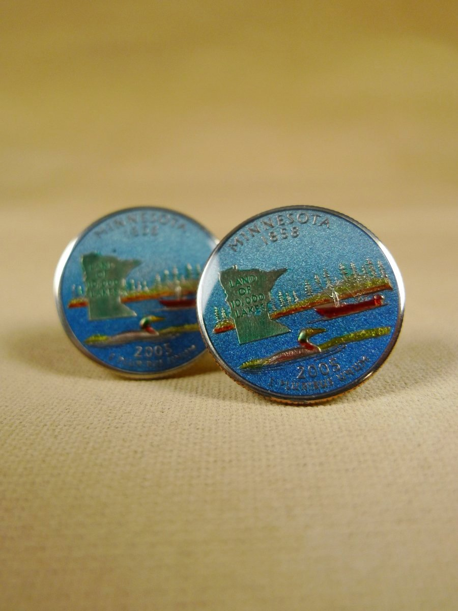 18/1137 brand new benson and clegg usa state quarter minnesota coin cufflinks rrp £100 (cc2116)