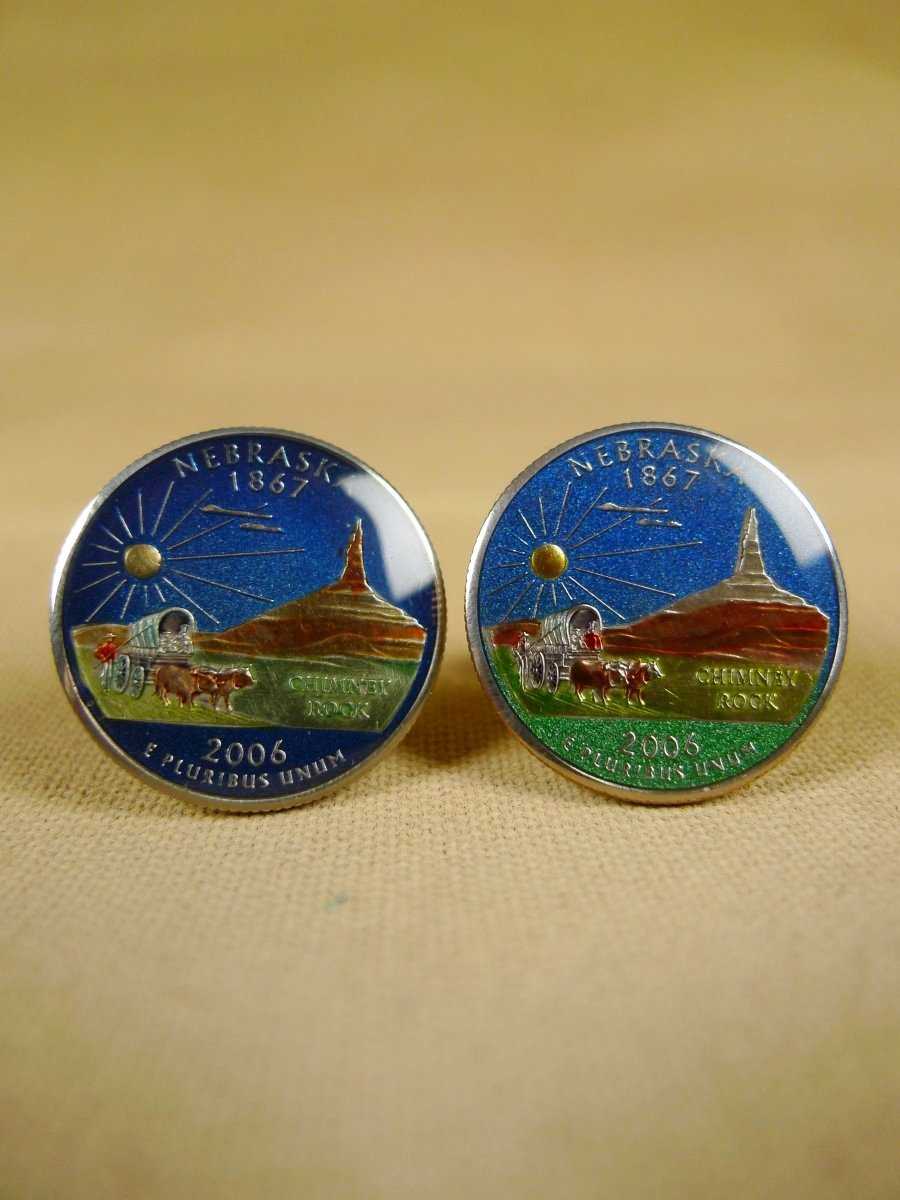 18/1135 brand new benson and clegg usa state quarter nebraska coin cufflinks rrp £100 (cc2091)