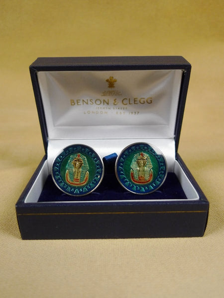 18/1134 brand new benson and clegg egypt one pound coin cufflinks rrp £100 (cc2138)