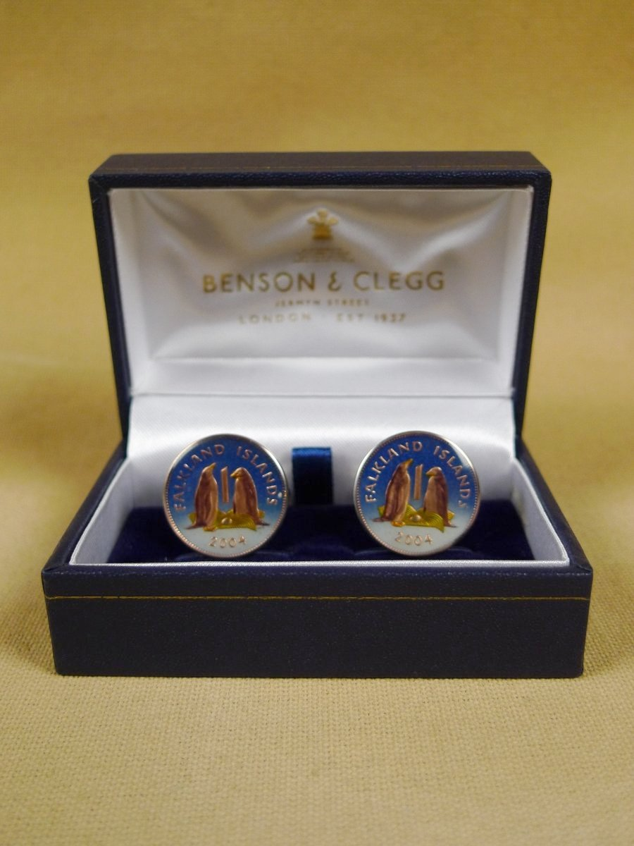 18/1136 brand new benson and clegg uk falkland islands one pence coin cufflinks rrp £100 (cc2135)